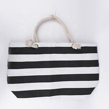 Large Size Reusable Lady Handbag Striped Grocery Shopping Bag With Two Rope Handles