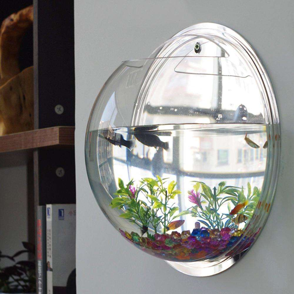 Acrylic Round Wall Mounted Hanging Fish Bowl Aquarium Tank Home Decoration Pot Wall Hanging Mount Bubble Aquarium Bowl Fish Tank