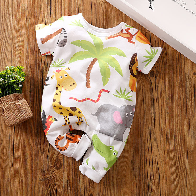 Popular Sale Baby Cotton Romper with Cute Cartoon Animal World and Short Sleeves for Summer