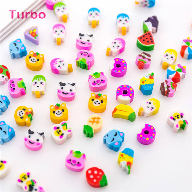Hot selling 2019 korean school stationery items list Custom cartoon mini 3d animal shaped erasers with logo
