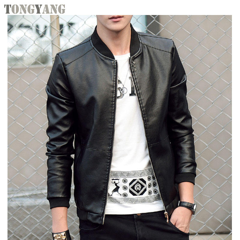 TONGYANG UNIVOS KUNNI Autumn Winter MenのLeather Coat Korean Slim Fit Leather Jackets Fashion Casual OutwearためMan Jacket
