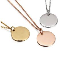 Custom logo disc round 18k gold engraved metal coin blank pendant necklace
