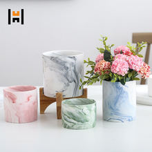 Indoor Tabletop Ceramic Marble Pot with Wooden Stand For Plant/Flower