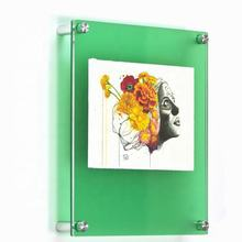 Acrylic Frames Wall Mounted Sign Holders Floating Plexiglass Photo Frame Glass Wall