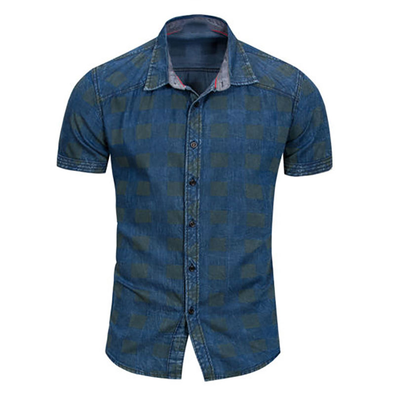 NEW CASUAL SHORT SLEEVE CASUAL STYLISH DRESS DOT SLIM FIT DENIM SHIRT FOR MEN