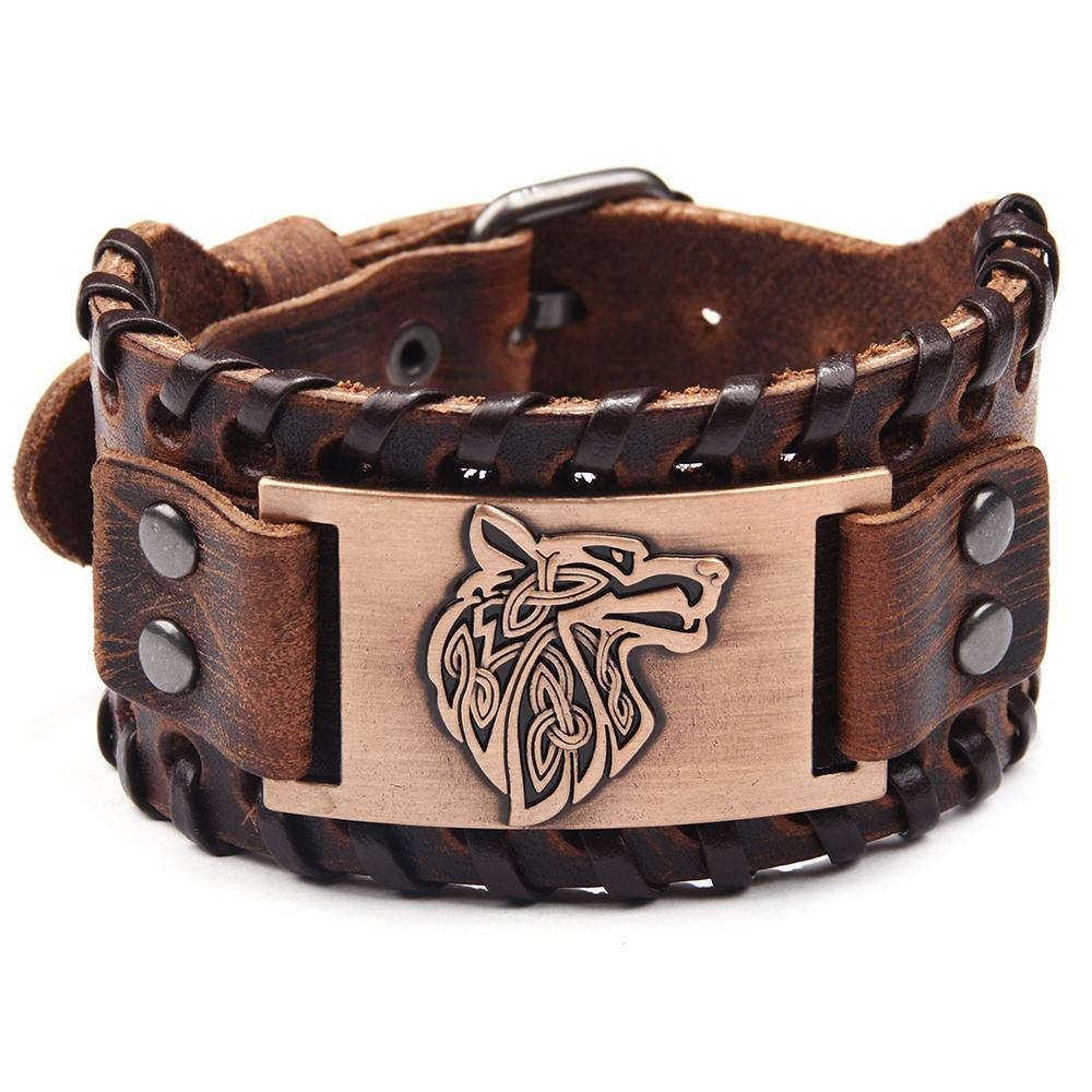 Wholesale Genuine Leather Wolf Head Piece Bracelet for men women,Custom Animal Shape Embossed Bracelet