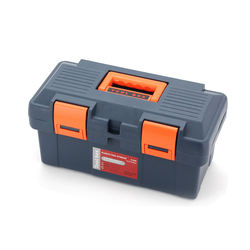 household plastic tool storage box with removable tray