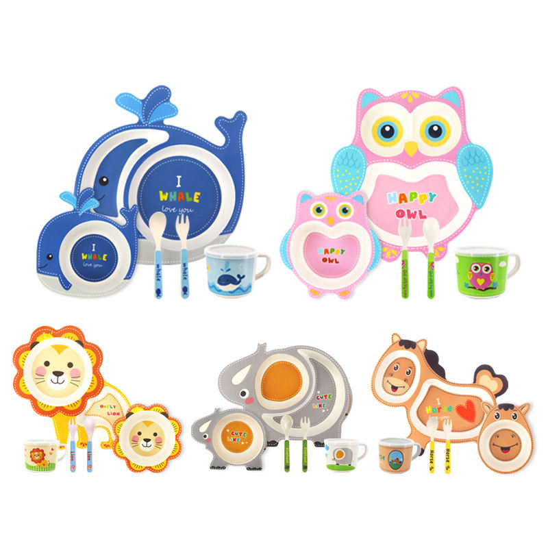 Manufacturer Eco-Friendly Cute Various Style Pigmented Food Graded Bamboo Fiber Baby Plate with Cup Spoon and Fork