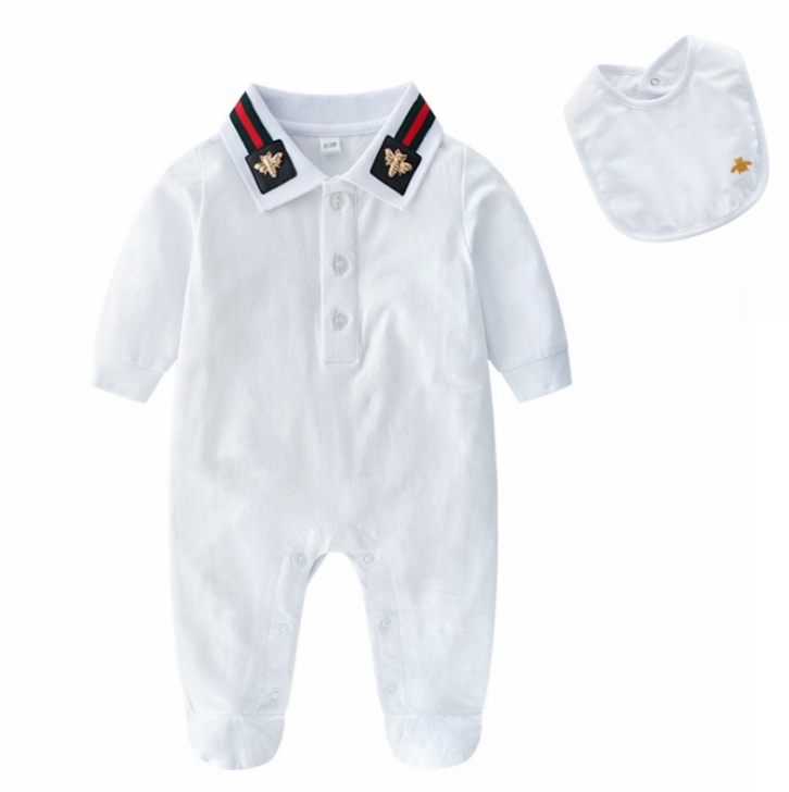 Hot sell infants baby clothes set 2 pcs feeted romper and bib with collar embroidery and bee accessary white color soft hand