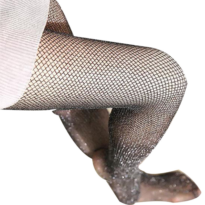 Hot Selling long Polyester asian rhinestone glitter fishnet pantyhose For Women