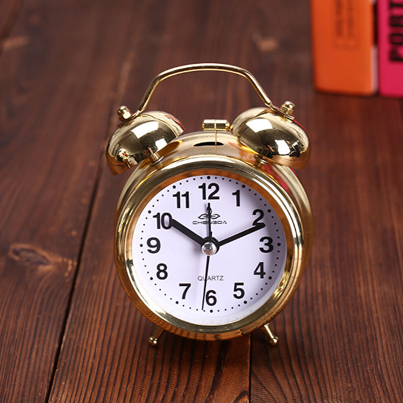 Small cheap funny antique alarm clock Gold double bell alarm clock ringing bell
