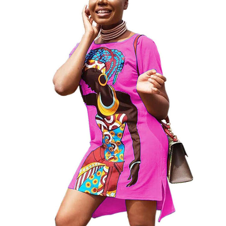 Summer hot pink color short sleeve african dresses for women