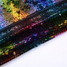 High quality multi color sequins hologram tulle mirror embroidery fabric for dresses