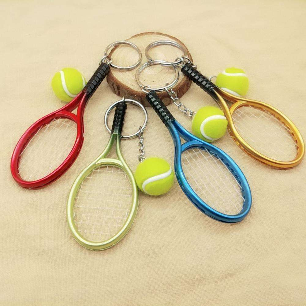 Simulation tennis keychain tennis racket sports activities gift advertising promotional gifts