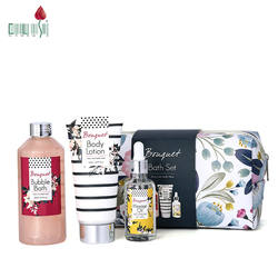 High quality 3pcs bubble lotion oil products gift box bath and body sets