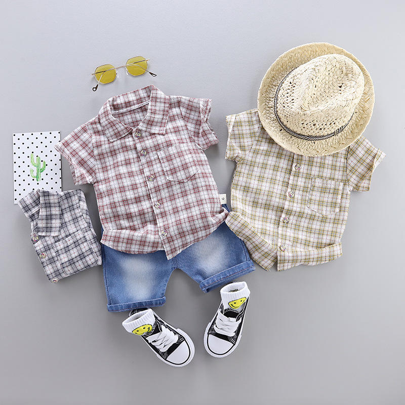 2019 New Style Children Suit Summer Baby Kids Boy Clothes Short-sleeved Plaid Shirt Top + Denim Shorts Boy Clothing Sets