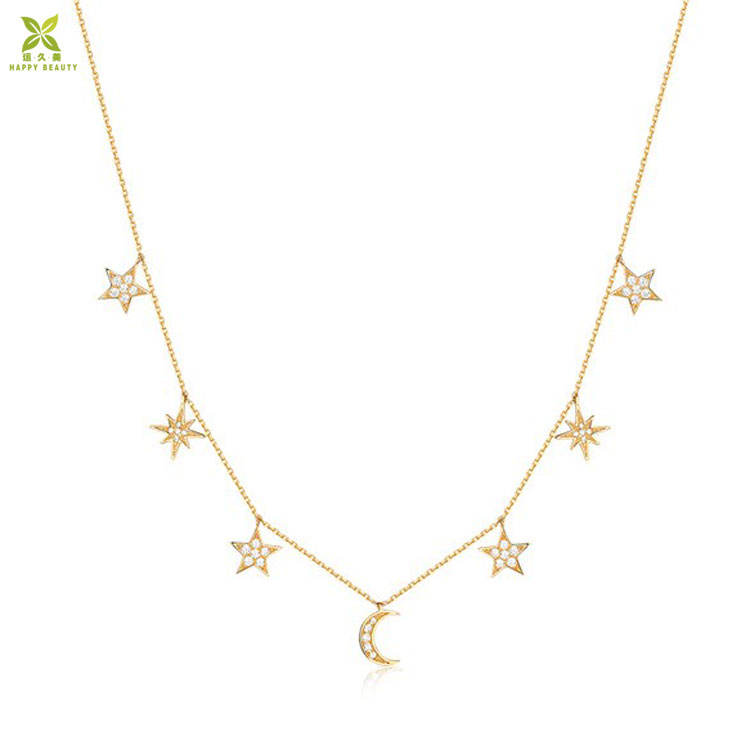 925 Sterling silver choker necklace gold plated star moon choker necklace