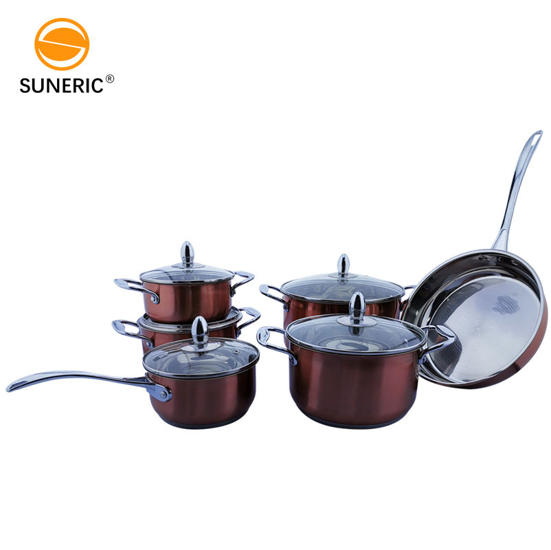 12pcs pot set cookware with lid non stick stainless steel cookware set