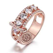 CAOSHI Latest Design CZ Diamond Ring Rose Gold Plated Ring for Women Wedding Promise