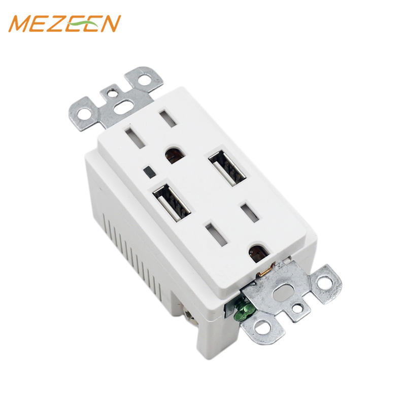International Standard wall socket with usb port, usb double socket 15A