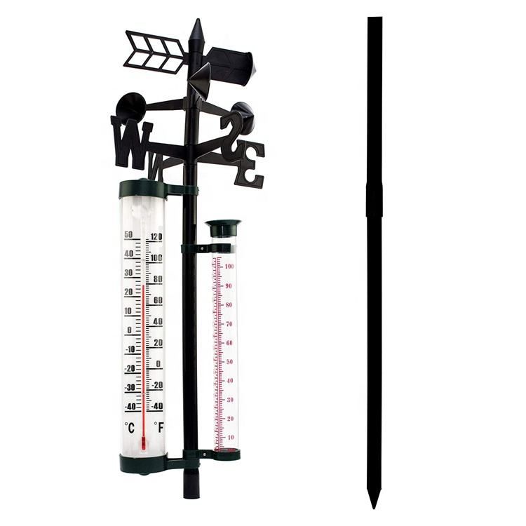 Cheap PP+PS+Iron Material weather vane wetter station wind vane with thermometer & rain gauge and wind wind indicator