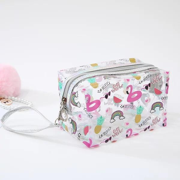 Cute Unicorn PVC Transparent Travel Accessory Cosmetic Bag Waterproof Makeup Pouch Cactus Flamingo Wash Kits Organizer Bag Pouch