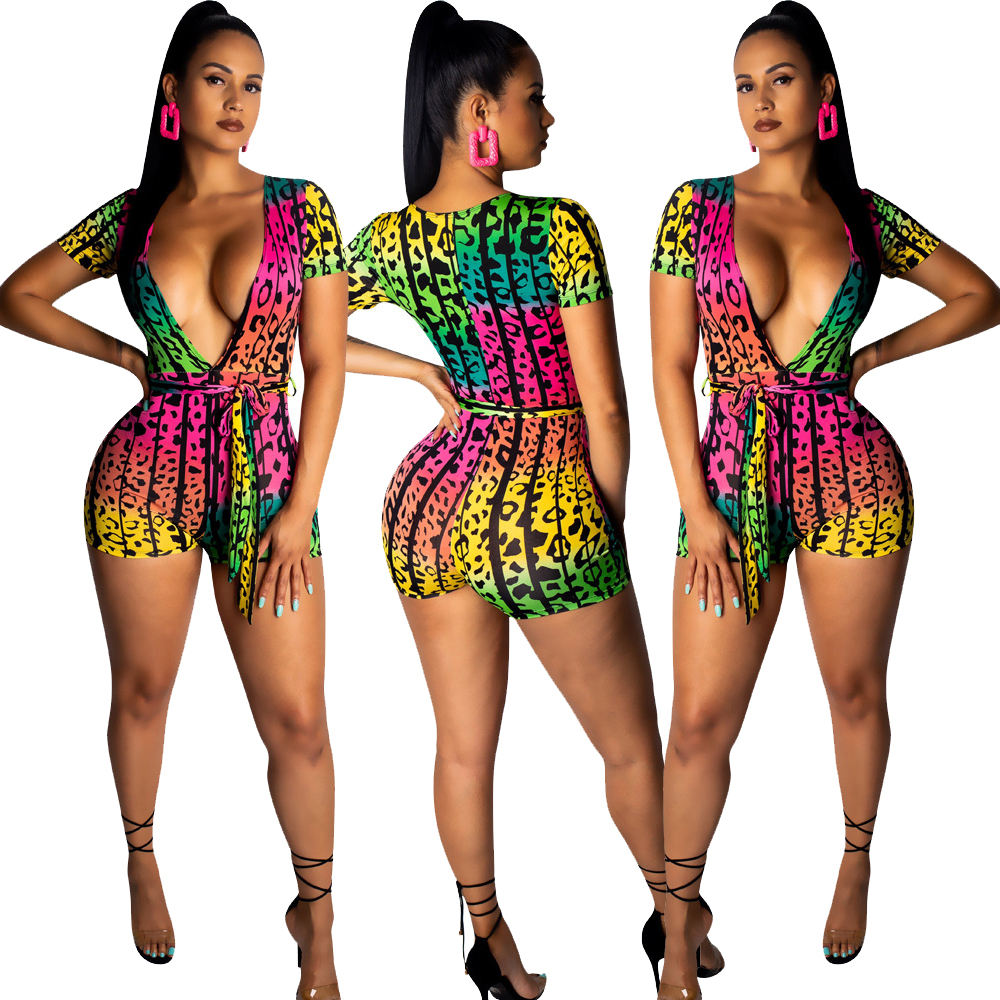 SA3715 summer fashion printed deep v neck high waist bodysuit jumpsuit sexy female short pants