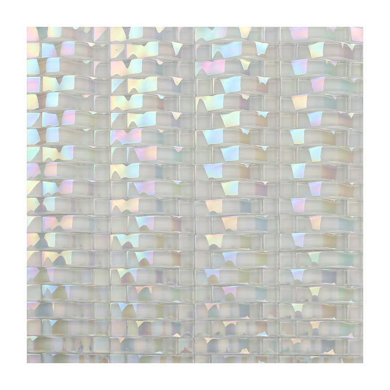 Simple style Iridescent white arch crystal glass mosaic tile for bathroom wall decoration