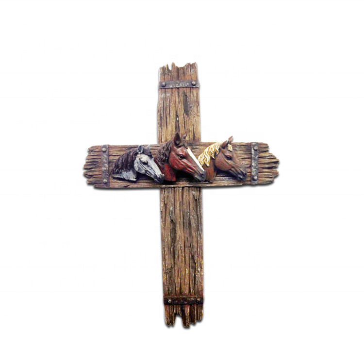 Supplier wholesale custom catholic crucifix resin religious crosses wood wall cross