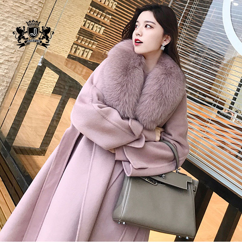 New Fashion Winter Real Fox Fur Collar Women wool coat Cashmere Wool Coat