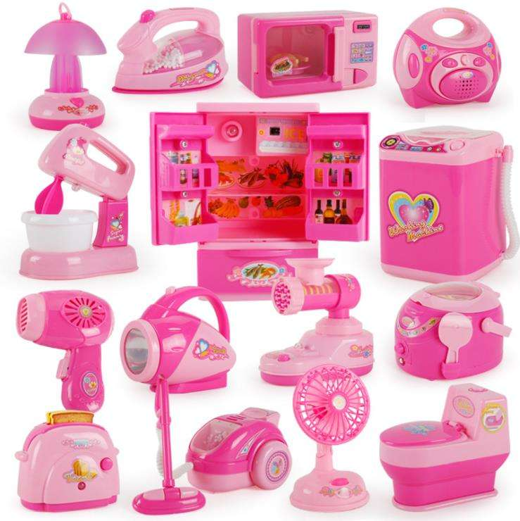 Hot Sell Electric Kitchen Toys Set Simulation Pretend Play Small Home Appliances Girl Kids Mini Washing Machine Toy Set