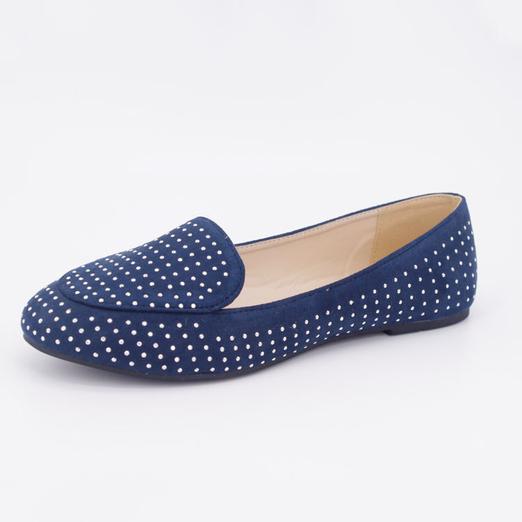 designer navy blue ladies loafers leather flat shoes for women