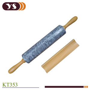 Marble Rolling Pin With Wooden Handle Nonstick Surface Dough Roller For Baking