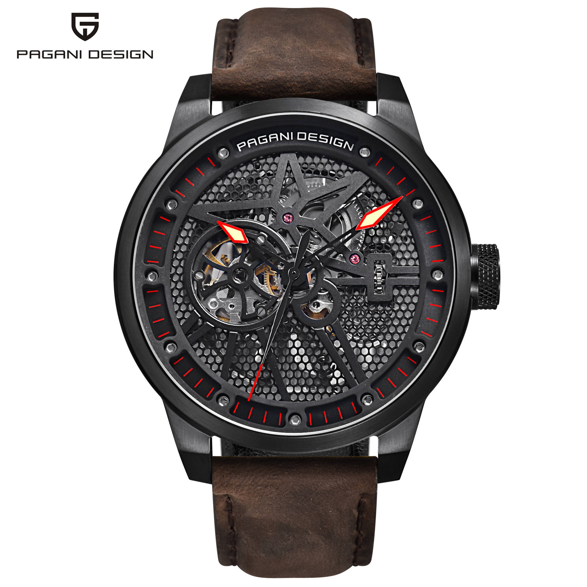 Pagani Design 1625 Skeleton Mechanical Watch Men Automatic Hollow Fashion Luxury Brand All Stainless Steel Sport Watch
