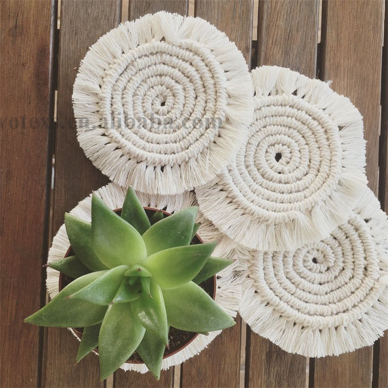 HC012 Custom design handmade Modern cotton Placemat for drink Boho Home Decor Macrame Coffee Coasters rope Macrame Mats