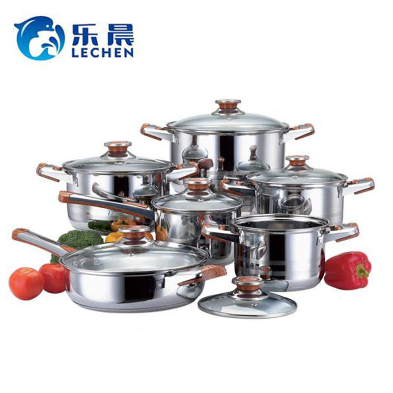 Double Bottom Cooking Pot Stainless Steel Stainless Steel Stock Pot 12 Pieces with Magnetic Cooking Pot Cookware Set