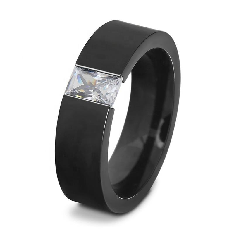 316l Stainless Steel Simple Style Cheap Wholesale Sparking Zircon Main Stone 316L Stainless Steel Black Color Men Ring