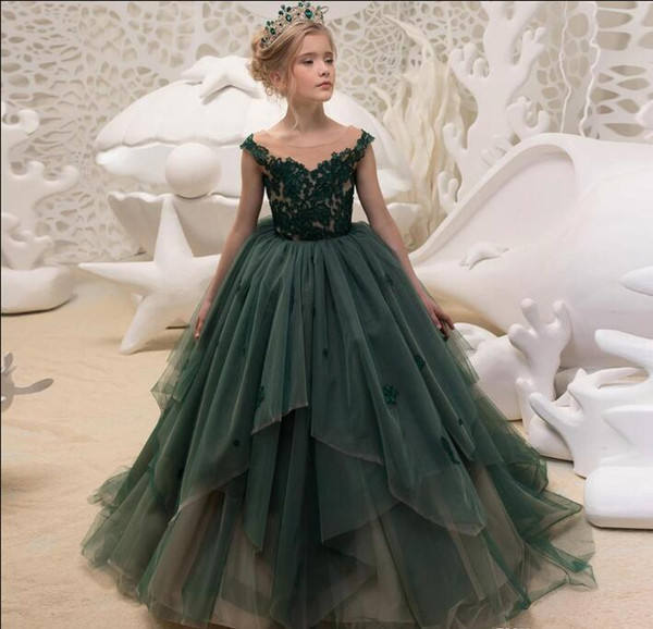 ZH2082Q 2019 Vintage Lace Applique Dark Green kids Dress Sheer Neck tiered ruffle Flower Girl Dresses Tulle First Communion gown