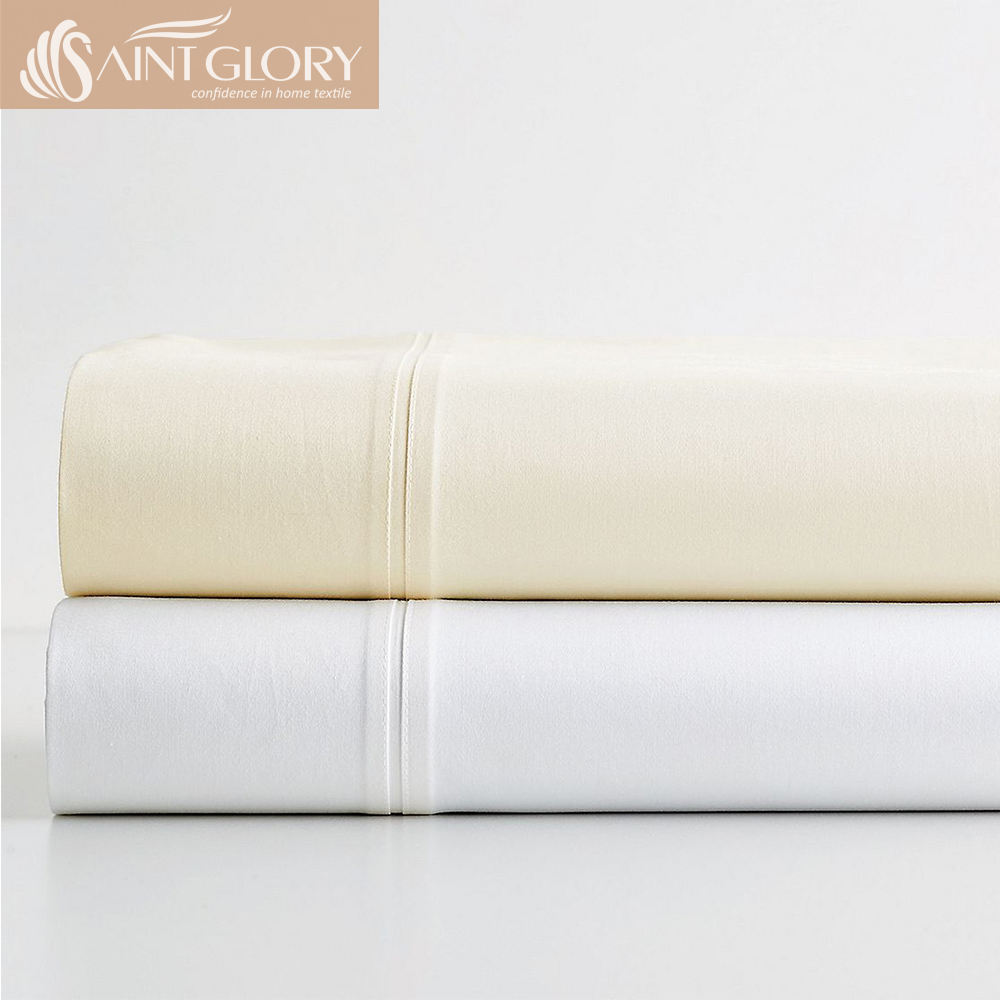 Popular Style Hotel Series Solid Color Plain Cotton Bed Sheets Standard Size Sheet Sets