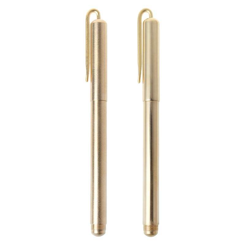 Good quality promotion Custom Logo Handmade Retro Gold brass material copper metal ballpoint pen