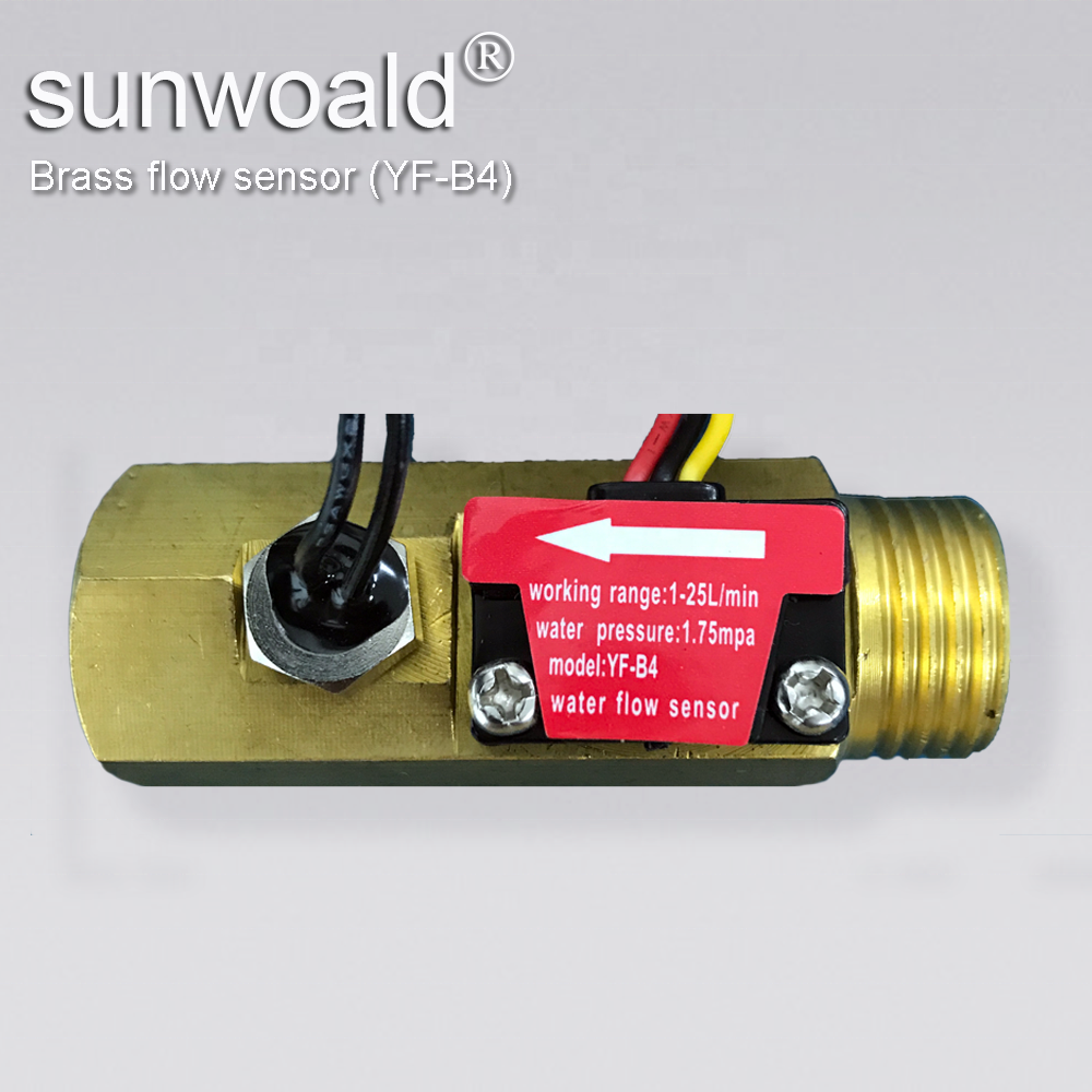 "Sunwoald G1/2"" 1~20L/min Hall brass Water Flow Sensor water flow meter for water tank with temp. sensor"
