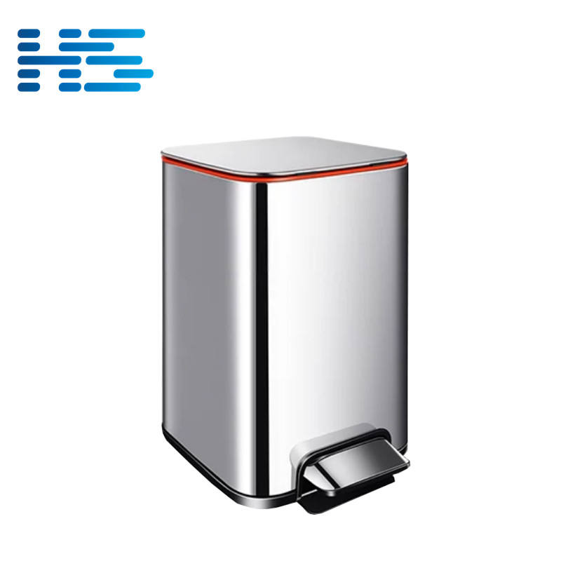 25 Liter brushed stainless steel pedal dust bin square shape for craft room