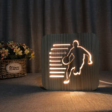 2019 new fashion unique gift ideas square night led lamp wood