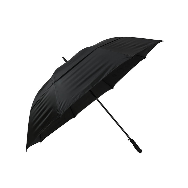 Branded good compact windproof auto open air vent double canopy travel golf umbrella