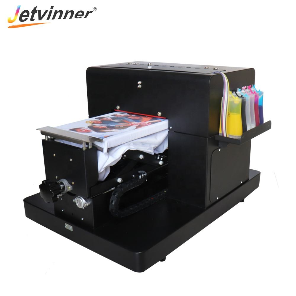 JETVINNER Easily Operating Manual A4 Flatbed Printer 6 Colors T-shirt printing For Epson A4 L805 Print Head DTG Printer