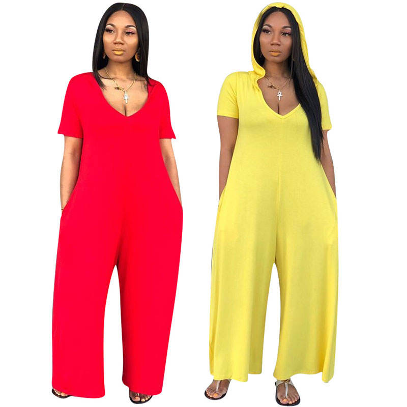 90425-MX39 Wide Leg Long One Piece Hooded Baggy Jumpsuits Women