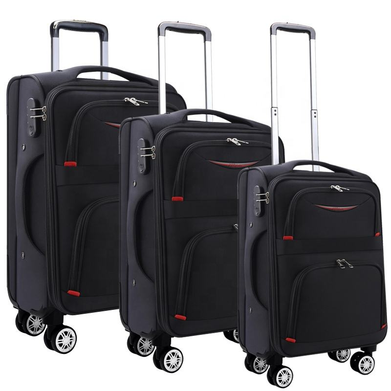 Factory wholesale 3pc 20 24 28 inch travel trolley nylon luggage set