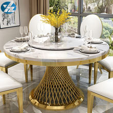 Marble Top Stainless Steel Frame Hot Sale Dining Table Set