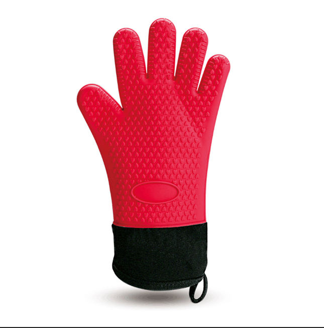 Cooking Grilling Glove Heat Resistant Kitchen Silicone Oven Mitts, Long Waterproof Non-slip Potholder BBQ Glove