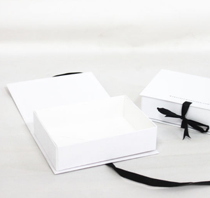 High quality Custom Logo White Foldable Paper Packaging Box Rigid Gift Box with Ribbon Bow